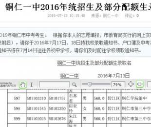 铜仁一中2016年统招生及部分配额生录取名单