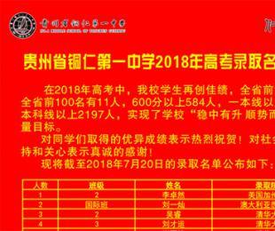 铜仁一中2018年高考录取名单